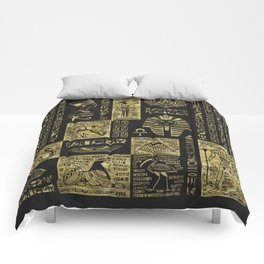 Egyptian  hieroglyphs and symbols gold on black leather Comforters