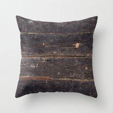 Vintage Black Wood Throw Pillow