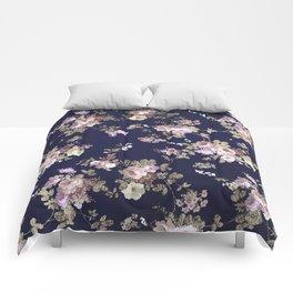 Elegant navy blue lilac pink gold glitter floral Comforters