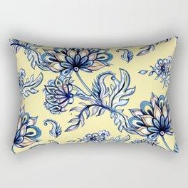 yellow and blue batik Rectangular Pillow