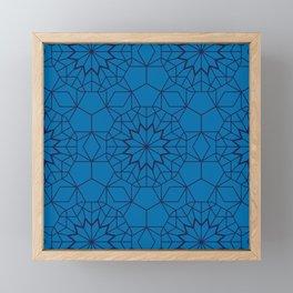 Teal Blue Geometric Pattern Framed Mini Art Print