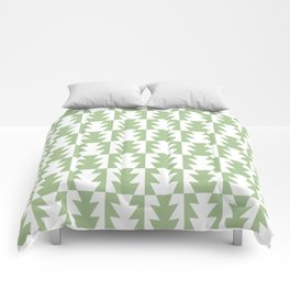 Art Deco Jagged Edge Pattern Sage Green Comforters