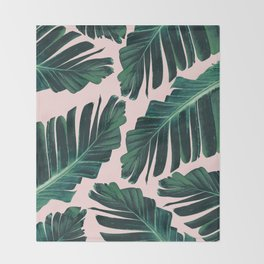 Tropical Blush Banana Leaves Dream #1 #decor #art #society6 Throw Blanket