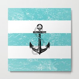 Vintage anchor beach background Metal Print