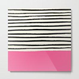 Watermelon & Stripes Metal Print