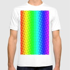 RAINBOW COLOR DOT MEDIUM White Mens Fitted Tee