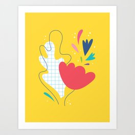 Abstract flower and leaves bouquet Art Print