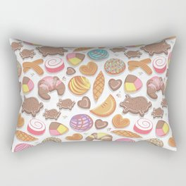 Mexican Sweet Bakery Frenzy // white background // pastel colors pan dulce Rectangular Pillow