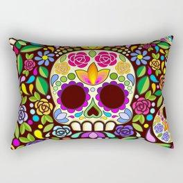 Sugar Skull Floral Naif Art Mexican Calaveras Rectangular Pillow
