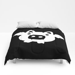 Pigs Will Fly - white on black Comforters