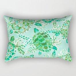TURTLE FLOAT Watercolor Rectangular Pillow