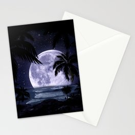 A night at the beach in paradise Stationery Cards