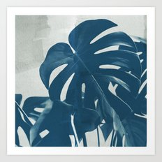 Blue Monstera #2 Art Print