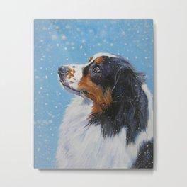 Australian Shepherd dog portrait fine art painting by L.A.Shepard Metal Print