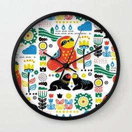 Scandinavian Sloths Wall Clock