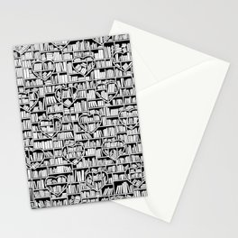 Book Lover Heart Library Pattern Stationery Cards