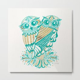 Owls – Turquoise & Gold Metal Print