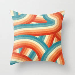 Red, Orange, Blue and Cream 70's Style Rainbow Stripes Throw Pillow
