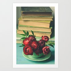 Books and Flowers Art Print