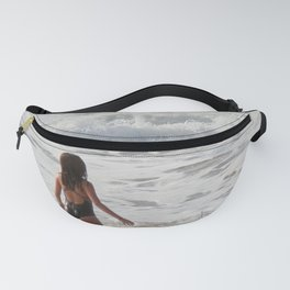 Breaking wave and girl Fanny Pack