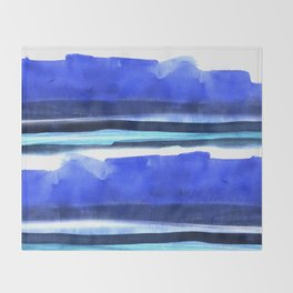 Wave Stripes Abstract Seascape Throw Blanket
