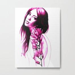 Flower tattoos: Pink magnolia Metal Print