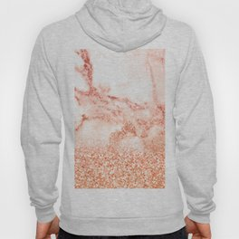 Sparkly Peach Copper Rose Gold Ombre Bohemian Marble Hoody