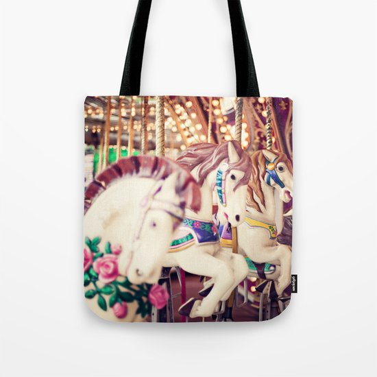 Riding Round Tote Bag