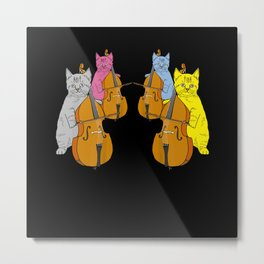 Cello Cats Violin Violin Musicians Music Metal Print
