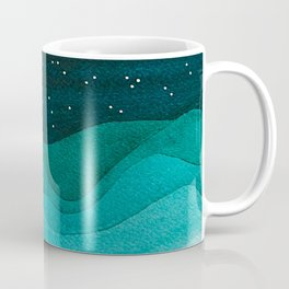 Starry Ocean, teal sailboat watercolor sea waves night Coffee Mug