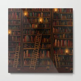 Night library Metal Print