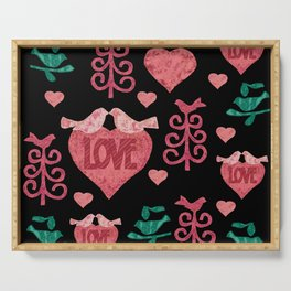 Pink doves and hearts Serving Tray