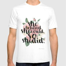 She believed she could so she did MEDIUM White Mens Fitted Tee