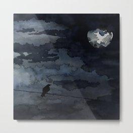 Moonlit Raven Metal Print
