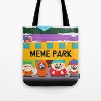 meme Tote Bags featuring Meme Park by Milan Harangozó