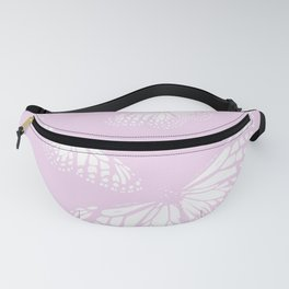 White Butterflies Pastel Pink Background #decor #society6 #buyart Fanny Pack