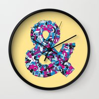 ampersand Wall Clocks featuring Ampersand by Mister Phil