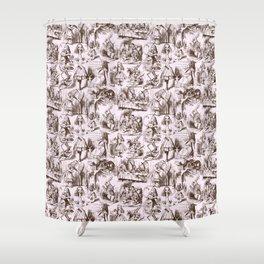 Alice in Wonderland | Toile de Jouy | Brown and Pink Shower Curtain