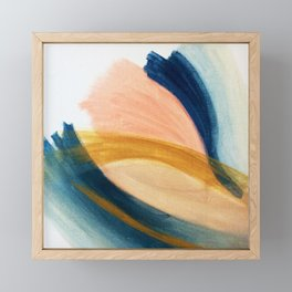 Slow as the Mississippi - Acrylic abstract with pink, blue, and brown Framed Mini Art Print