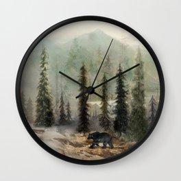 Mountain Black Bear Wall Clock