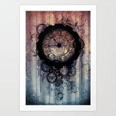 Steampunk clock Art Print