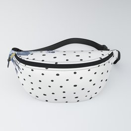 Boho Blue Flowers and Polka Dots Fanny Pack