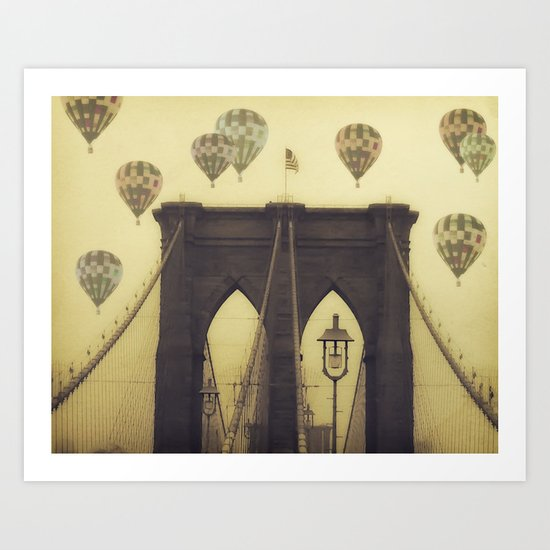 Balloons Over the Bridge Art Print