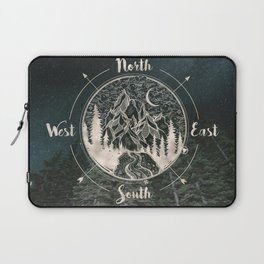 Mountains Compass Milky Way Woods Gold Laptop Sleeve