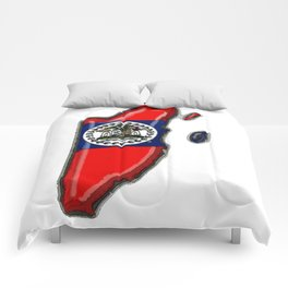 Belize Map with Belizean Flag Comforters