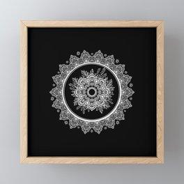 Bohemian Lace Paisley Mandala White on Black Framed Mini Art Print