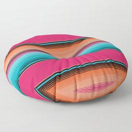 Traditional Mexican Serape in Teal Floor Pillow