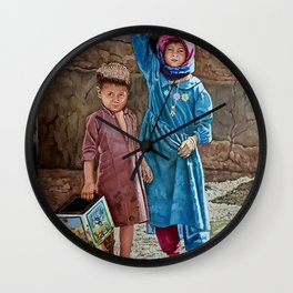 Oil painting 2 kids Childhood is miserable but responsible and stubbornly resisting despair Wall Clock