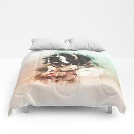Saint Bernard Digital Watercolor Painting Comforters