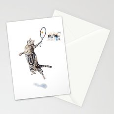 Cat Playing Tennis Stationery Cards